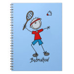 Badminton Player T-shirts and Gifts Spiral Note Books