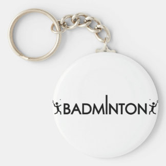 badminton player text icon key chain