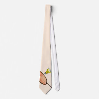 Badminton racket and shuttlecock neck tie