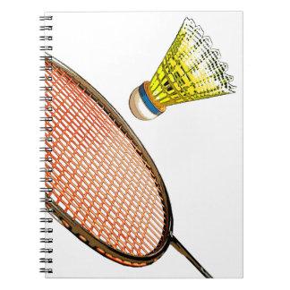 Badminton racket and shuttlecock spiral notebook