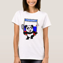 Women's Basic T-Shirt with Russia Badminton Panda design