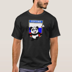 Men's Basic Dark T-Shirt with Russia Badminton Panda design