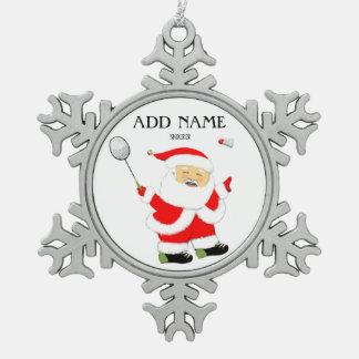 Badminton Santa Claus Snowflake Pewter Christmas Ornament