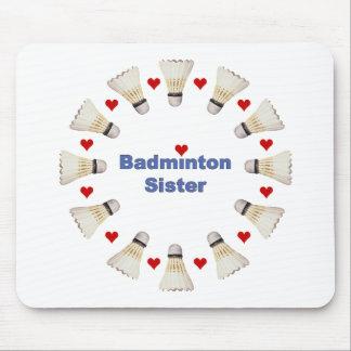 Badminton Sister Hearts Mouse Mat