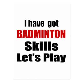 BADMINTON SKILLS DESIGNS POSTCARD