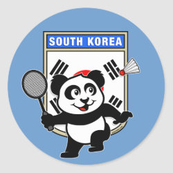 Round Sticker with South Korea Badminton Panda design