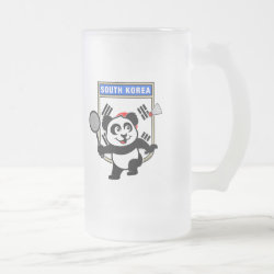 Frosted Glass Mug with South Korea Badminton Panda design