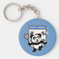 Basic Button Keychain with South Korea Badminton Panda design