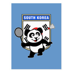 South Korea Badminton Panda Postcard