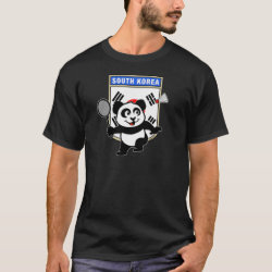 Men's Basic Dark T-Shirt with South Korea Badminton Panda design