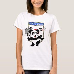 Women's Basic T-Shirt with South Korea Badminton Panda design