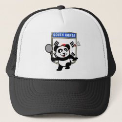 Trucker Hat with South Korea Badminton Panda design