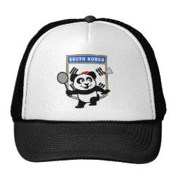 Trucker Hat with South Korea Badminton Panda design