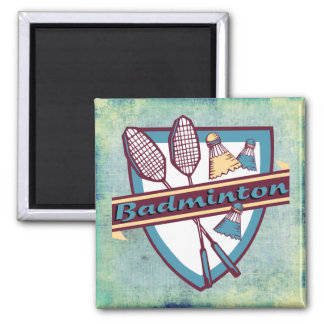 Badminton Time 2 Inch Square Magnet