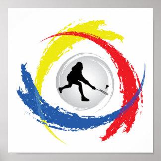 Badminton Tricolor Emblem Poster
