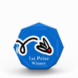 Badminton trophy award with custom name text