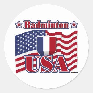 Badminton USA Classic Round Sticker