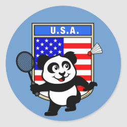 Round Sticker with USA Badminton Panda design