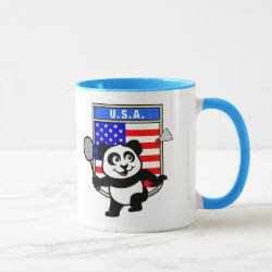 Combo Mug with USA Badminton Panda design