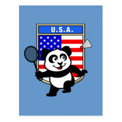 Postcard with USA Badminton Panda design