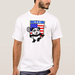 USA Badminton Panda Men's Basic T-Shirt