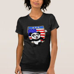 Women's American Apparel Fine Jersey Short Sleeve T-Shirt with USA Badminton Panda design