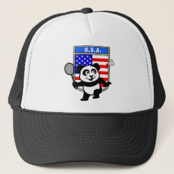 Trucker Hat with USA Badminton Panda design