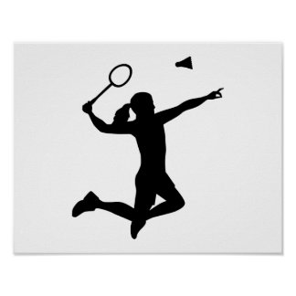 Badminton woman girl poster