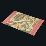 "Badobe Cloth Placemat<br><div class=""desc"">20"" x 14"" cloth placemat with an image of a lovely Balinese floral design of orange and coral blossoms and amazing green foliage on cream. Coral borders with olive stripes detail. See matching paper placemat, kitchen towel, cloth napkin, paper cocktail napkin and coasters. See the entire Bali Retreat Placemat collection...</div>"