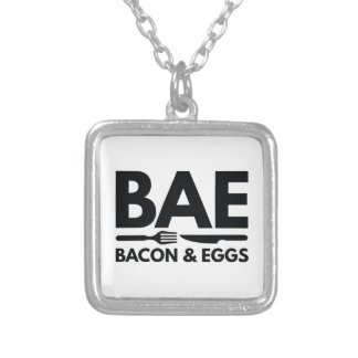 BAE Bacon And Eggs Silver Plated Necklace