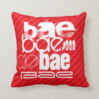 Bae; Scarlet Red Stripes Throw Pillow