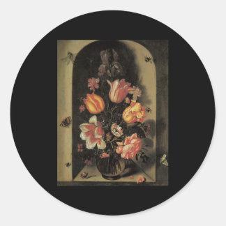 Baers Bouquet Set In A Deep Niche Classic Round Sticker