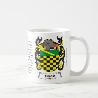 Baez, Origin, Meaning and the Crest on a mug