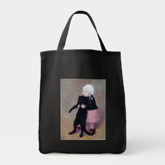 Bag:  A Small Girl with A Cat - Theophile Steinlen Grocery Tote Bag