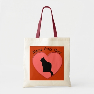 Bag - Black Cat in Red Heart Frame