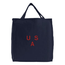 BAG  CANVAS   USA   RED  EMBROIDERY