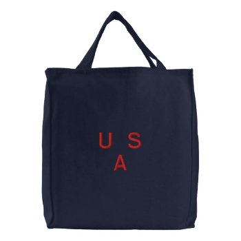 Bag  Canvas   Usa   Red  Embroidery by creativeconceptss at Zazzle