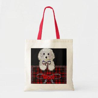 Bag del tote del perro de perrito del tejido bolsa de mano
