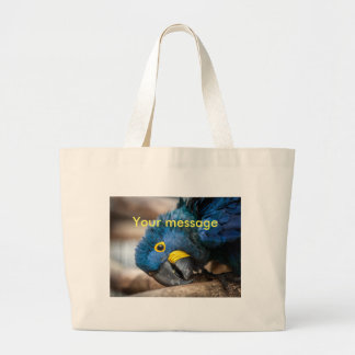 Bag featuring cute blue Hyacinth Macaw parrot