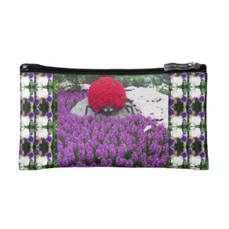 Bag for emergency touch-up Lady bug in flower park Cosmetic Bags