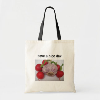 "Bag garlic with text: ""have a nice day*"