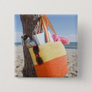 Bag Hanging On Tree Trunk At Sandy Beach Pinback Button
