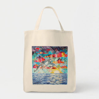 bag - Harmony art quilt with dolphins