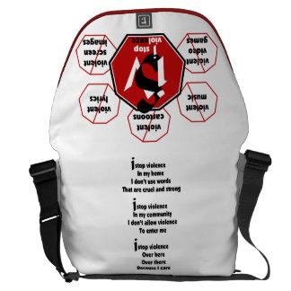 Bag-Messenger- I Stop Violence F/B_Poem Messenger Bag