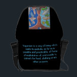 "Bag Messenger vegan fish free<br><div class=""desc"">Think vegan! Be vegan for the animals,  the humans and the planet! Spread the Word with this bag,  based one the artwork off Pascale Salmon. You edge see more off her art At her website: www.pascalesalmon.com</div>"