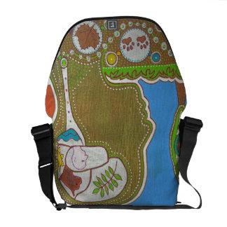 Bag Messenger vegan footprints
