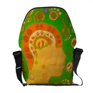 Bag messenger vegan footprints head