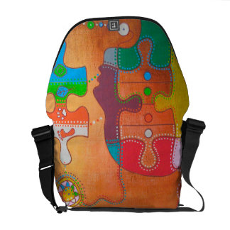 Bag messenger vegan puzzle footprints
