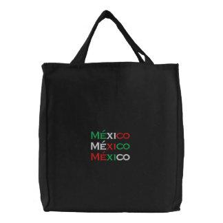 Bag, Mexico lindo, tri-color Embroidered Tote Bag
