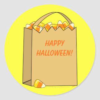 Bag of Candy Corn Fun Halloween Template Round Sticker